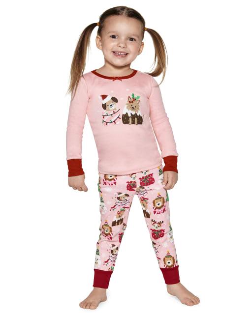 Girls Long Sleeve Christmas Puppy Snug Fit Cotton 2-Piece Pajamas - Gymmies