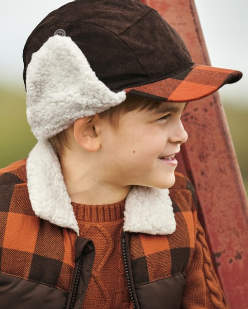 Boys Plaid Trapper Hat - Harvest