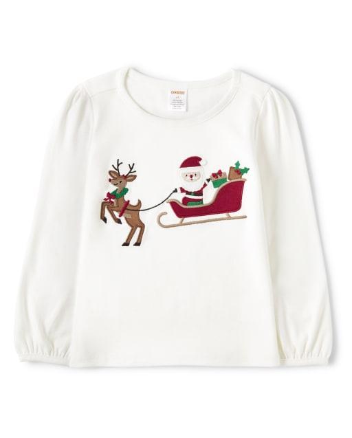 Girls Long Sleeve Embroidered Santa's Sleigh Top - Ho Ho Ho