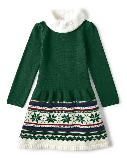 Vestido suéter Fairisle de manga larga para niñas - Celebraciones familiares Verde