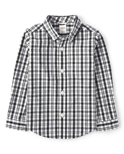 Boys Long Sleeve Plaid Poplin Button Up Shirt - Reindeer Cheer