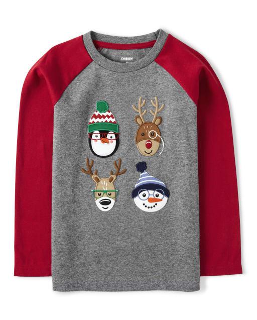 Camiseta con manga raglán bordada de manga larga para niños - Ho Ho Ho