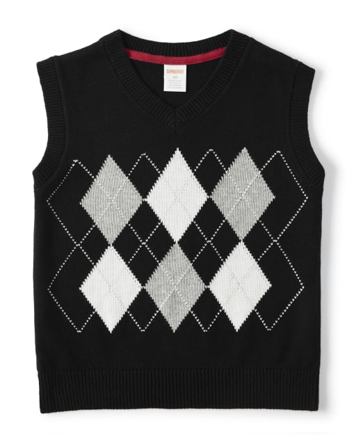 Boys Sleeveless Argyle Sweater Vest - Reindeer Cheer
