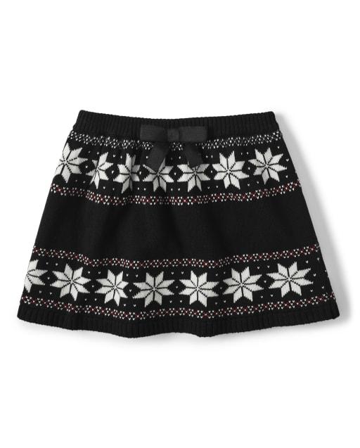 Falda suéter de punto Fairisle para niñas - Reindeer Cheer