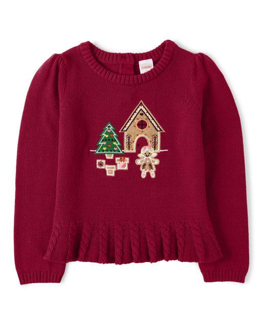 Girls Long Sleeve Embroidered Gingerbread Peplum Sweater - Ho Ho Ho