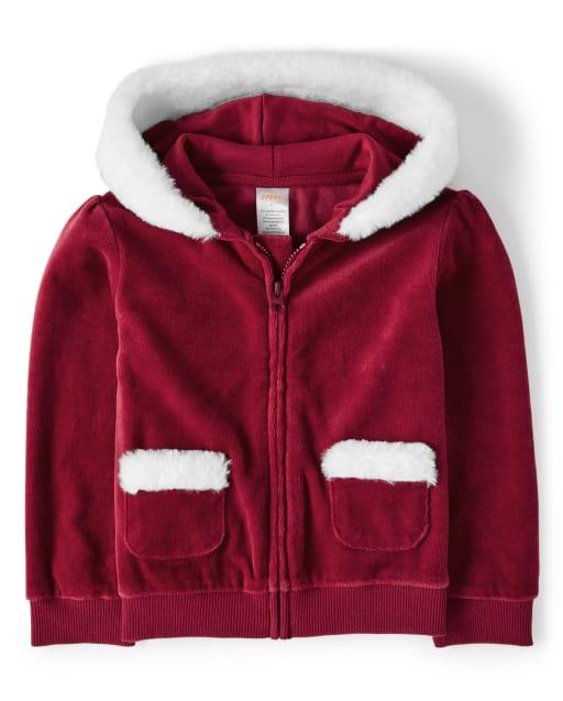 Girls Long Sleeve Velour Zip Up Hoodie - Ho Ho Ho