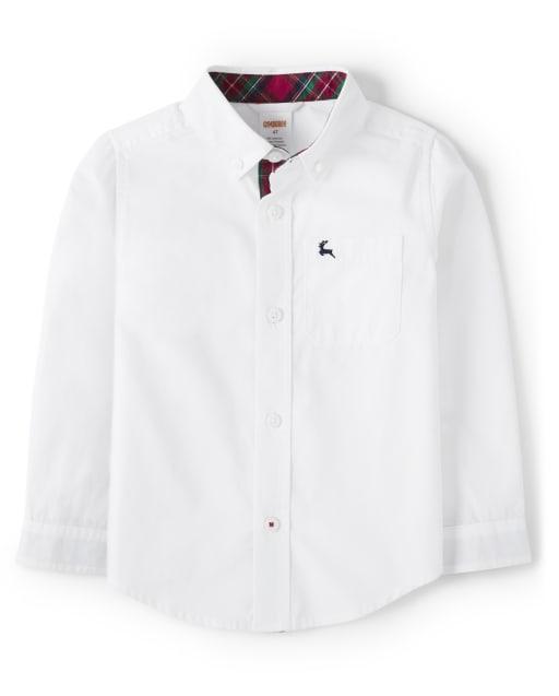 Boys Long Sleeve Poplin Button Up Shirt - Family Celebrations Red