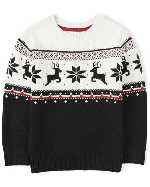 Boys Long Sleeve Reindeer Fairisle Sweater - Reindeer Cheer