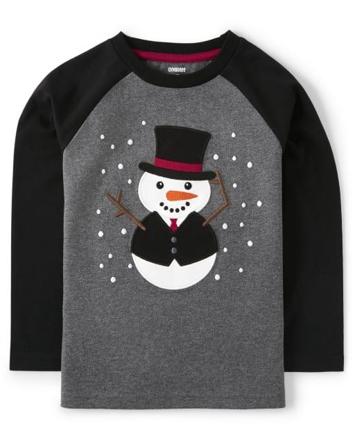 Top de muñeco de nieve bordado con manga raglán larga para niños - Reindeer Cheer