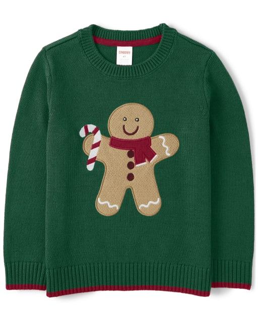 Boys Long Sleeve Intarsia Gingerbread Sweater - Ho Ho Ho