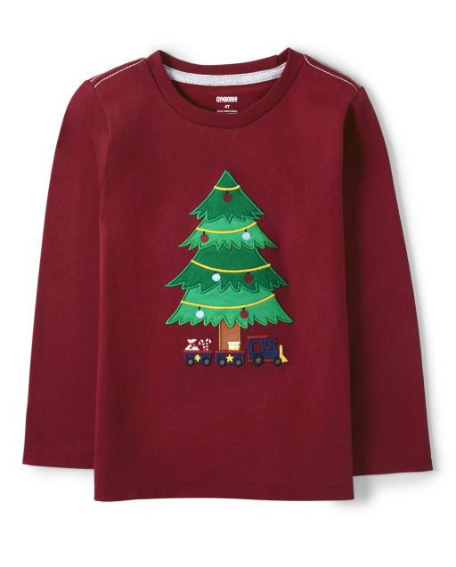 Top de árbol de navidad bordado de manga larga para niños - Ho Ho Ho
