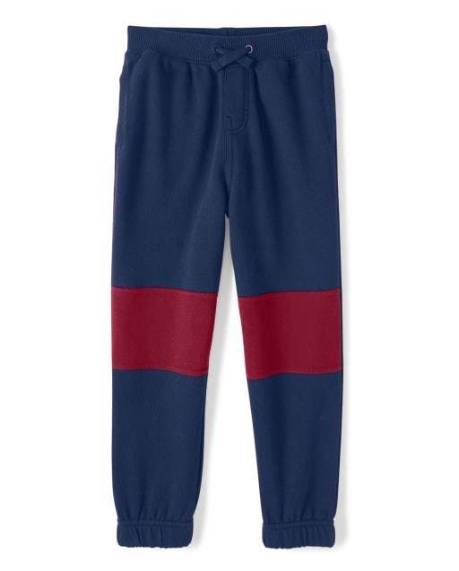 Boys Colorblock Fleece Jogger Pants - Ho Ho Ho