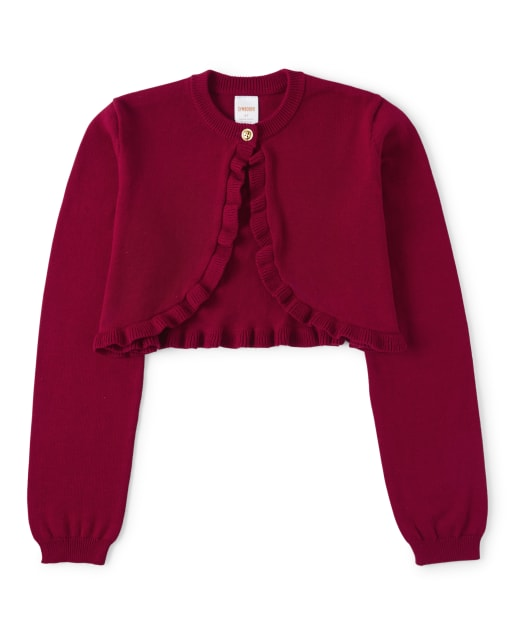 Girls Long Sleeve Shrug Sweater - Family Celebrations Red