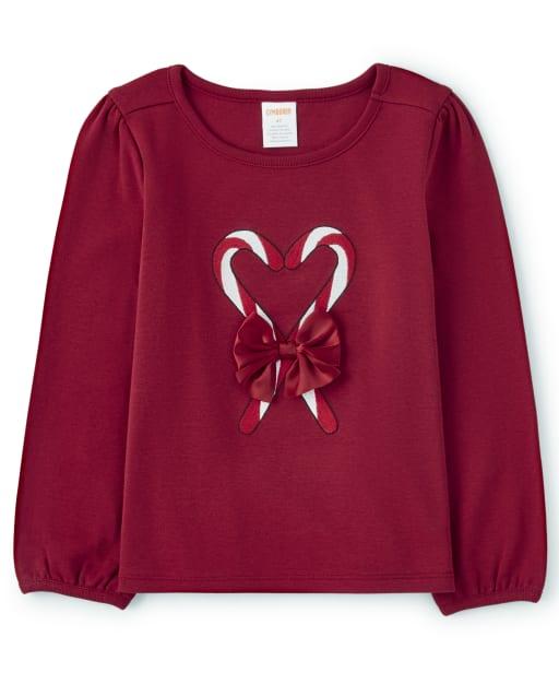 Girls Long Sleeve Embroidered Candy Cane Top - Ho Ho Ho