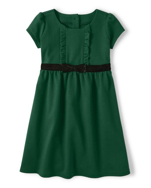 Vestido niña de manga corta con lazo de punto Ponte - Celebraciones familiares Verde