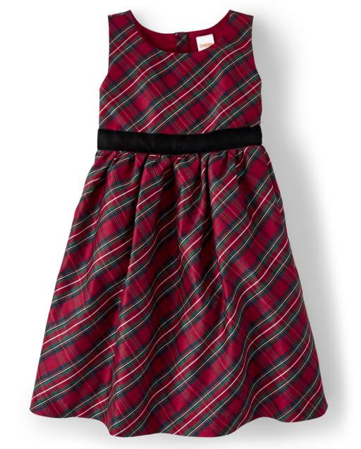 Vestido tejido a cuadros sin mangas de la familia a juego para niñas - Celebraciones familiares Rojo