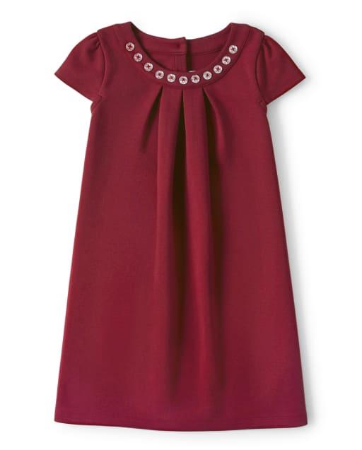 Vestido recto plisado de punto ponte con pedrería de manga corta para niñas - Celebraciones familiares Rojo