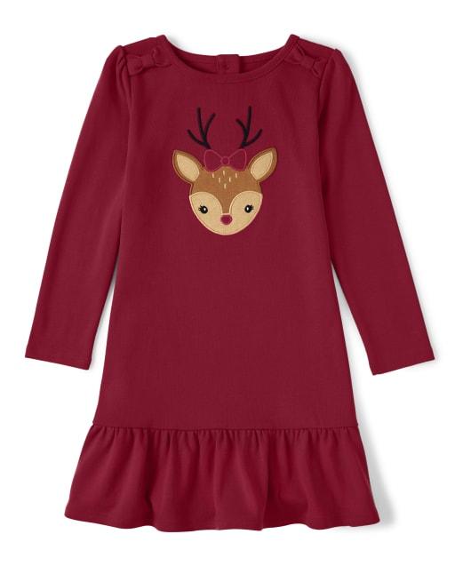 Vestido niña de manga larga con bordado de renos y peplum - Ho Ho Ho