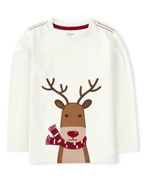 Boys Long Sleeve Embroidered Reindeer Top - Reindeer Cheer