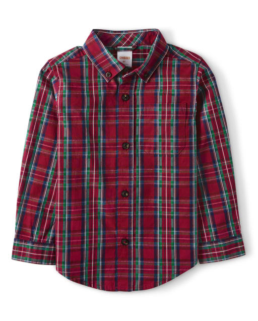 Boys Matching Family Long Sleeve Plaid Poplin Button Up Shirt - Family Celebrations Red