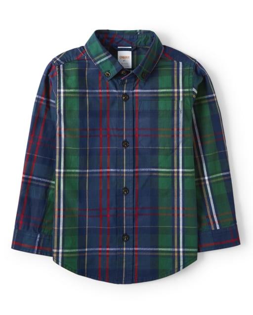 Boys Long Sleeve Plaid Poplin Button Up Shirt - Family Celebrations Green