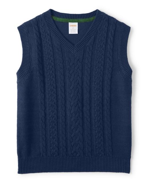 Boys Sleeveless Cable Knit Sweater Vest - Family Celebrations Green