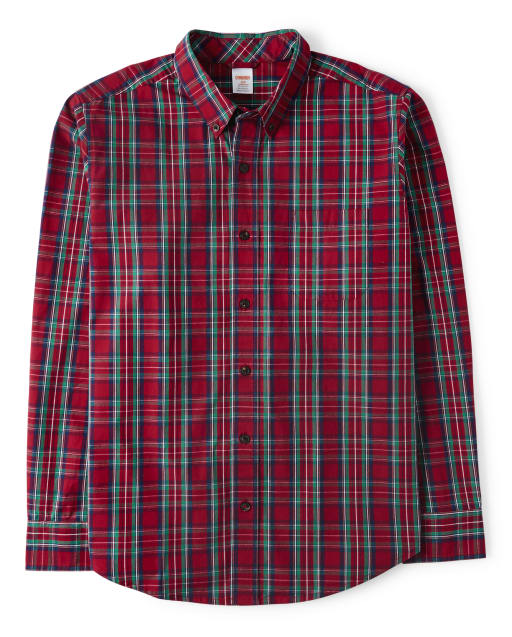 Mens Matching Family Long Sleeve Plaid Poplin Button Up Shirt - Family Celebrations Red