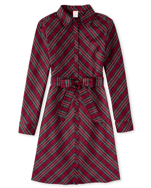 Womens Matching Family Long Sleeve Plaid Woven Shirt Dress - Family Celebrations Red