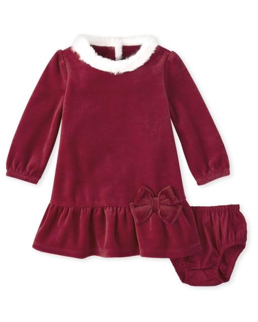 Baby Girl Long Sleeve Velour Dress - Ho Ho Ho