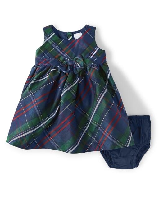Baby Girls Sleeveless Plaid Woven Bow Dress - Family Celebrations Green