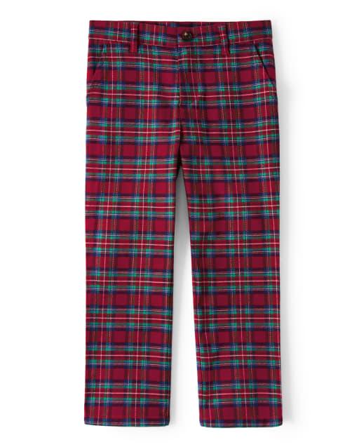 Boys Plaid Woven Dress Pants - Family Celebrations Red