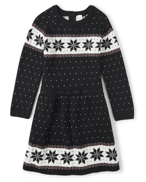 Vestido suéter de punto Fairisle para niñas - Reindeer Cheer