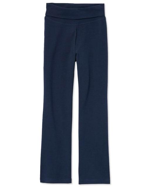 Girls Uniform Active Knit Foldover Waist Pants