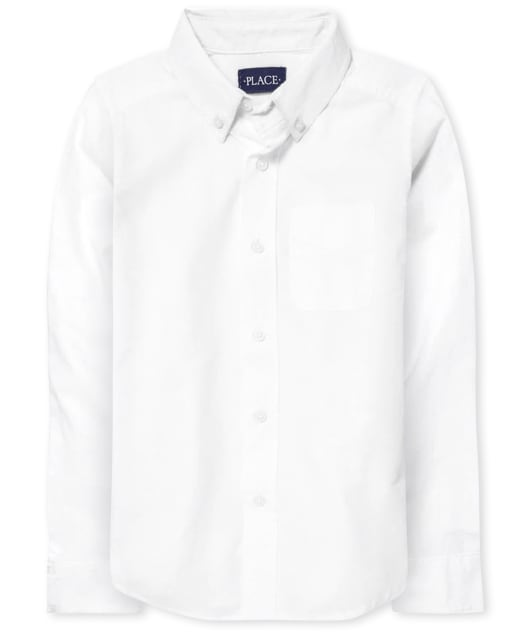 Boys Uniform Long Sleeve Oxford Button Down Shirt