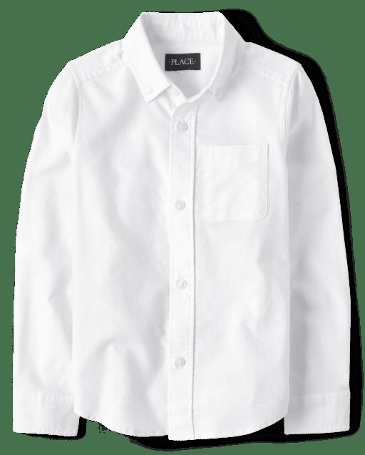 Camisa Oxford de manga larga con botones uniformes para niños