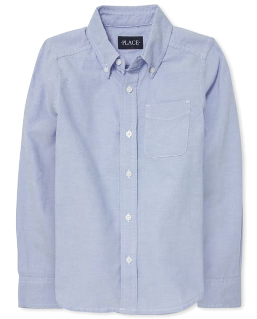Camisa Oxford de manga larga con uniforme para niños