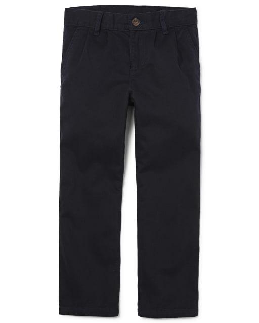 Pantalones chinos plisados tejidos uniformes para niños