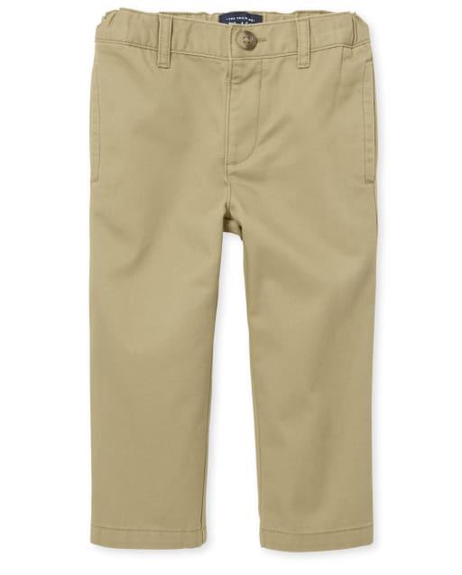Pantalones chinos tejidos uniformes para bebés y niños pequeños