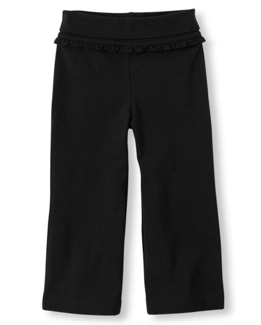 Pantalones de cintura plegables de punto activo para bebés y niñas pequeñas