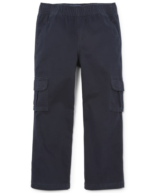 Boys Uniform Woven Pull On Chino Cargo Pants