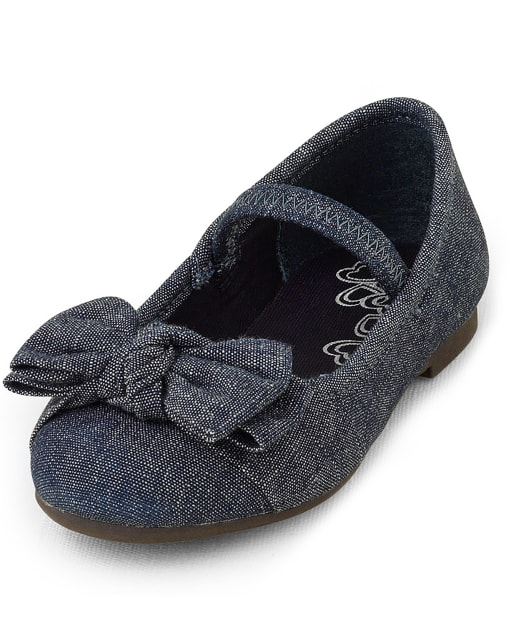 Toddler Girls Uniform Denim Ballet Flats