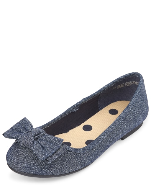 Girls Uniform Denim Ballet Flats
