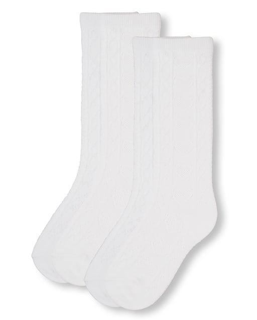 Girls Uniform Pointelle Knee Socks 2-Pack