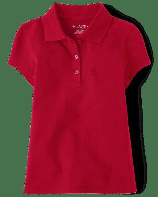 Polo de piqué de manga corta uniforme para niñas
