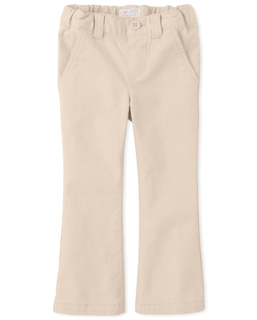 Toddler Girls Uniform Woven Bootcut Chino Pants