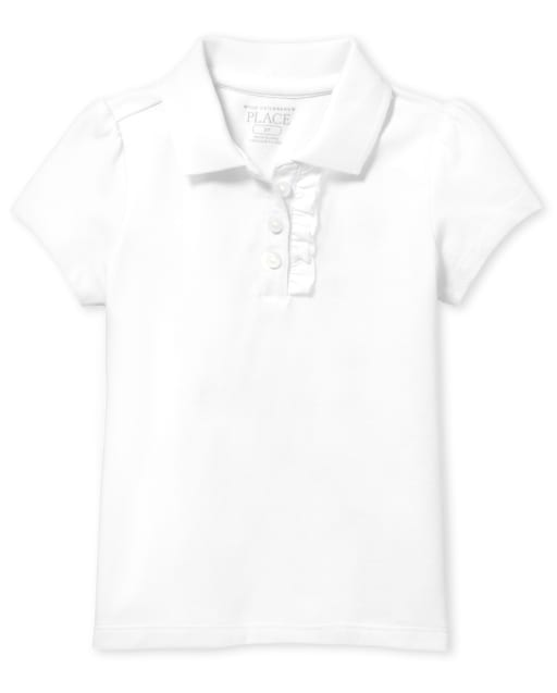 Toddler Girls Uniform Short Sleeve Ruffle Pique Polo