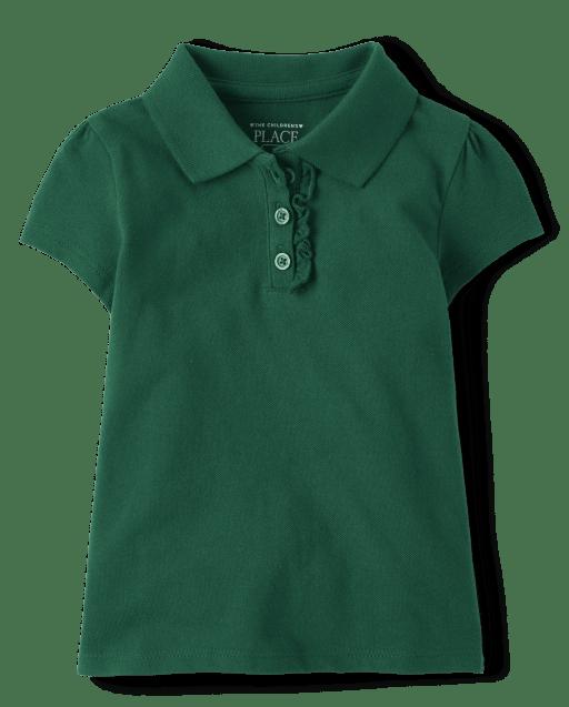 Toddler Girls Uniform Short Sleeve Ruffle Pique Polo