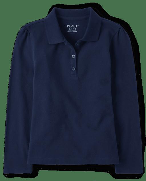 Girls Uniform Long Sleeve Pique Polo