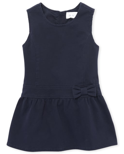 Toddler Girls Uniform Sleeveless Bow Woven Jumper