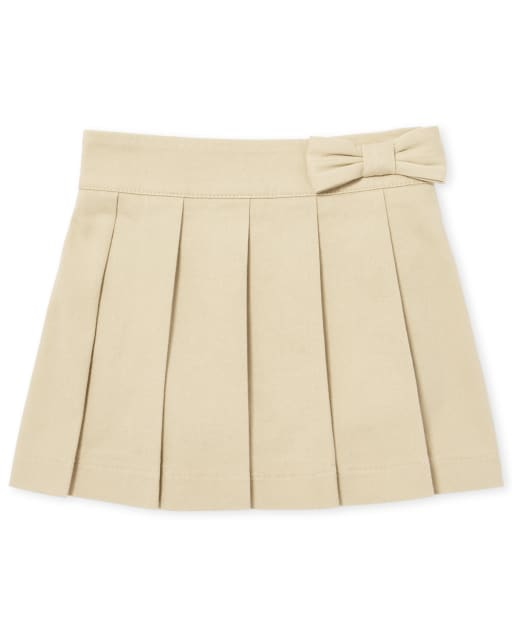 Toddler Girls Uniform Bow Pleated Woven Pull On Skort